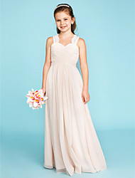 cheap -A-Line / Princess Strap Floor Length Chiffon / Lace Junior Bridesmaid Dress with Ruched / Side-Draped / Wedding Party