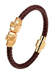 cheap -Men's Leather Bracelet woven Magnetic Skull Punk Hip-Hop Leather Bracelet Jewelry Black / Silver / Brown For Stage Club