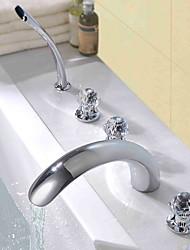 cheap -Bathtub Faucet - Contemporary Modern Style Chrome Widespread Brass Valve