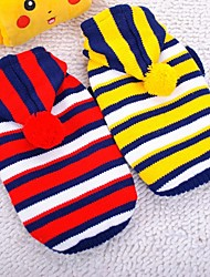 cheap -Dog Sweater Dog Clothes Stripes Yellow Red Chinlon Costume For Spring &  Fall Winter Casual / Daily
