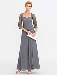 cheap -Sheath / Column Square Neck Ankle Length Chiffon 3/4 Length Sleeve Elegant Mother of the Bride Dress with Criss Cross 2020 / Illusion Sleeve