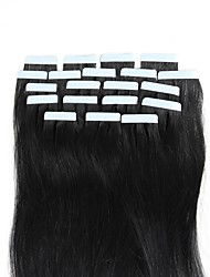 cheap -Febay Tape In Human Hair Extensions Straight Human Hair Human Hair Extensions 16-24 inch Blonde Auburn Brown 1 Bundle Soft Silky Nano Women's Black#1B / Shedding Free / Tangle Free