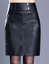 cheap -Women's Daily Plus Size Bodycon Skirts - Solid Colored Winter Black M L XL
