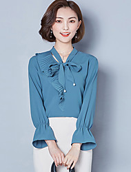 cheap -Women's Daily Street chic Blouse - Solid Colored Bow V Neck Blue / Spring / Fall / Lace up