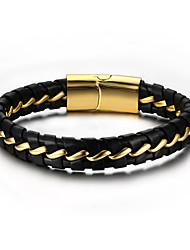 cheap -Men's Leather Bracelet Rock Hip-Hop Leather Bracelet Jewelry Black For Party Birthday Gift Evening Party / Titanium Steel