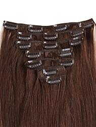 cheap -Febay Clip In Human Hair Extensions Straight Remy Human Hair Human Hair Extensions Nano Women's Medium Brown / Bleached Blonde