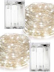 Недорогие -2 шт. 10 м (2 * 5 м) 100 светодиодов 3aaa 4.5 В на батарейках водонепроницаемый украшения светодиодные медные провода огни строка для рождественского фестиваля свадьба
