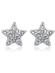 cheap -Women's Crystal AAA Cubic Zirconia Stud Earrings Star Ladies Personalized Punk Cross Fashion Cute Cubic Zirconia Silver Plated Earrings Jewelry Silver For Party Graduation Daily Evening Party Date
