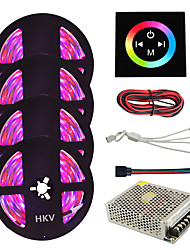 cheap -1Set HKV 20M 4X5M 1200Led IP65 3528SMD 8mm RGB Waterproof LED Strip Lighting Tape with Type Touch Screen Wall Controller