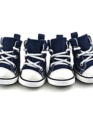 cheap -Pet Shoes Puppy Sport Denim Shoes Casual Style Anti-Slip Boots Sneaker Booties 4Pcs