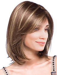 cheap -Synthetic Wig Straight Straight Wig Medium Length Brown Synthetic Hair Women's Highlighted / Balayage Hair Brown MAYSU