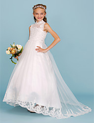 cheap -Ball Gown High Neck Sweep / Brush Train Lace / Satin Junior Bridesmaid Dress with Beading / Appliques / Wedding Party