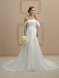 cheap -Princess A-Line Wedding Dresses Strapless Cathedral Train Chiffon Sleeveless Open Back with Buttons Ruched 2020
