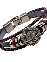 cheap -Men's Leather Bracelet woven Eagle Anchor Vintage Fashion Stainless Steel Bracelet Jewelry Black / Brown For Street Club