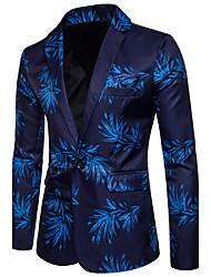 cheap -Men's V Neck Blazer Regular Causal Club Spring Summer Print Long Sleeve Blue / Red M / L / XL / Slim