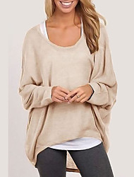 cheap -Women's Going out Solid Colored Long Sleeve Loose Regular Cardigan Sweater Jumper, Round Neck Fall / Winter Cotton Black / White / Purple S / M / L