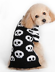 cheap -Cat Dog Coat Sweater Christmas Winter Dog Clothes Black Costume Spandex Cotton / Linen Blend Skull Party Cosplay Casual / Daily XXS XS S M L