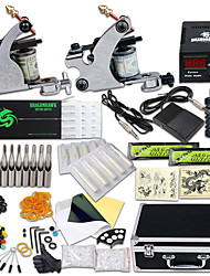cheap -Tattoo Machine Professional Tattoo Kit 2 steel machine liner & shader High Quality LCD power supply 2 x aluminum grip 30pcs Classic Daily