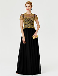 cheap -Princess A-Line Mother of the Bride Dress Color Block Elegant See Through Illusion Neck Floor Length Chiffon Metallic Lace Short Sleeve with Lace Pleats 2020 / Illusion Sleeve