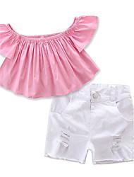 cheap -Toddler Girls' Dresswear Solid Colored Short Sleeve Regular Regular Cotton Clothing Set Blushing Pink