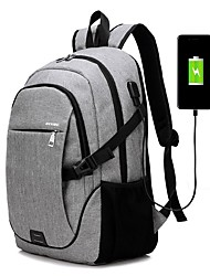 cheap -Men's PU Leather Oxford Cloth School Bag Rucksack Functional Backpack Large Capacity USB Port Zipper Sports Outdoor Backpack Black Gray