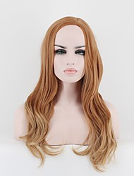 cheap -Synthetic Wig Wavy Wavy Wig Medium Length Golden Brown Synthetic Hair Women's Brown OUO Hair