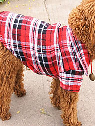 cheap -Dog Shirt / T-Shirt Dog Clothes Green Red Blue Costume Cotton / Linen Blend Plaid / Check Casual / Daily S M L