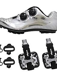 cheap -SIDEBIKE Mountain Bike Shoes Bike Shoes With Pedals Carbon Fiber Anti-Slip Cycling Black Silver Men's Cycling Shoes / Synthetic Microfiber PU