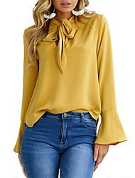 cheap -Women's Blouse Solid Colored Long Sleeve Party Tops Black Yellow Blushing Pink