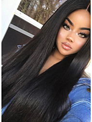 cheap -Remy Human Hair Full Lace Wig style Indian Hair Straight Wig 180% Density with Baby Hair 100% Hand Tied Women's Long Human Hair Lace Wig