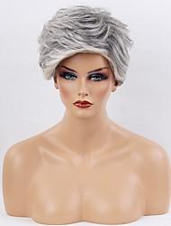cheap -Human Hair Capless Wigs Human Hair Curly Short Hairstyles 2019 Ombre Hair / Dark Roots Short Machine Made Wig Women's