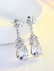 cheap -Women's AAA Cubic Zirconia Drop Earrings Drop Classic Elegant Cubic Zirconia Silver Earrings Jewelry Silver For Wedding Evening Party 1pc