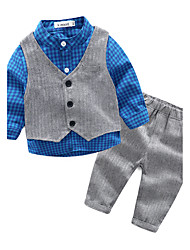 cheap -Baby Boys' Check Casual / Daily Lattice Clothing Set Orange