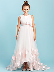cheap -A-Line / Princess V Neck Sweep / Brush Train Satin / Tulle Junior Bridesmaid Dress with Bow(s) / Sashes / Ribbons / Wedding Party