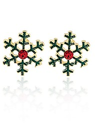 cheap -Women's Synthetic Diamond Stud Earrings Snowflake Personalized Fashion Earrings Jewelry Green For Christmas Gift