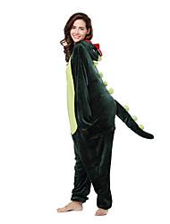cheap -Adults' Kigurumi Pajamas Dinosaur Animal Onesie Pajamas Coral fleece Green Cosplay For Men and Women Animal Sleepwear Cartoon Festival / Holiday Costumes