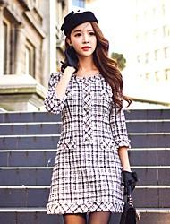 cheap -Women's Plaid Going out / Work Vintage A Line Dress - Color Block Fall Black M L XL
