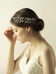 cheap -Gemstone & Crystal / Tulle / Imitation Pearl Headbands / Flowers / Headpiece with Crystal / Feather 1 Wedding / Special Occasion / Anniversary Headpiece