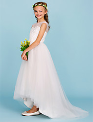 cheap -Ball Gown Crew Neck Asymmetrical Tulle Junior Bridesmaid Dress with Beading / Wedding Party / Open Back