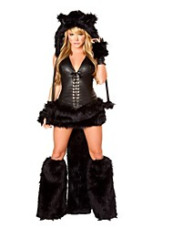 cheap -Cat Cosplay Costume Halloween Festival / Holiday Polyster Black Carnival Costumes Fashion