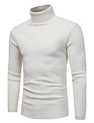 cheap -Men's Daily / Weekend Solid Colored Long Sleeve Slim Regular Pullover Sweater Jumper, Turtleneck Fall / Winter Light gray / White / Navy Blue M / L / XL