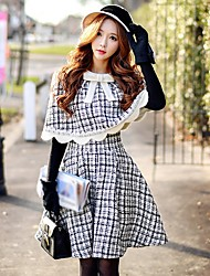 cheap -Women's Going out / Work Vintage A Line Skirts - Color Block Winter Black S M L