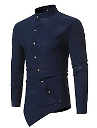 cheap -Men's Daily Weekend Slim Shirt - Floral Standing Collar Black / Long Sleeve