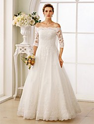 cheap -A-Line Wedding Dresses Off Shoulder Floor Length Lace Tulle Lace Over Tulle 3/4 Length Sleeve Floral Lace Illusion Sleeve with Ruched Beading 2020