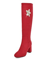 cheap -Women's Boots Knee High Boots Chunky Heel Round Toe Rhinestone / Zipper Synthetics Knee High Boots Riding Boots / Fashion Boots Fall / Winter Black / Red / Dark Blue / Party & Evening