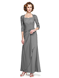 cheap -Sheath / Column Square Neck Ankle Length Chiffon / Floral Lace Mother of the Bride Dress with Appliques / Criss Cross by LAN TING BRIDE® / Illusion Sleeve