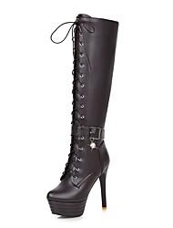 cheap -Women's Boots Stiletto Heel Boots Platform Stiletto Heel Round Toe Knee High Boots Sexy Party & Evening PU Buckle Solid Colored Dark Brown White Black