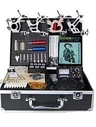 abordables -BaseKey Machine à tatouer Kit pour débutant - 4 pcs Machines de tatouage avec encres de tatouage, Professionnel Alliage Source d'alimentation LED Boîtier Inclus 20 W 4 x Machine à tatouer en acier