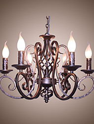 cheap -6-Light 53 cm Candle Style Chandelier Metal Painted Finishes Antique / Retro 110-120V / 220-240V