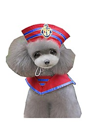 cheap -Dog Costume Sailor Cosplay Winter Dog Clothes Red Blue Costume Baby Small Dog Cotton S M L